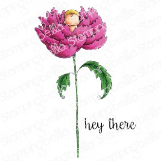 LONG STEMMED BABY PEONY RUBBER STAMP