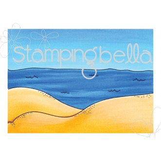 BEACH BACKDROP RUBBER STAMP