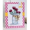 "MASON JAR OF FLOWERS ""CUT IT OUT"" wafer thin die + RUBBER STAMP BUNDLE"
