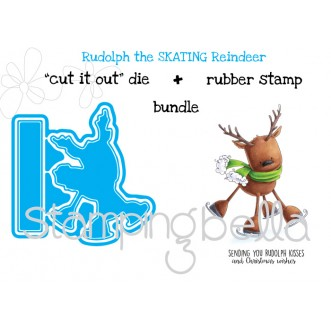 "Rudolph the SKATING REINDEER ""CUT IT OUT"" DIE + RUBBER STAMP BUNDLE (save 15%)"