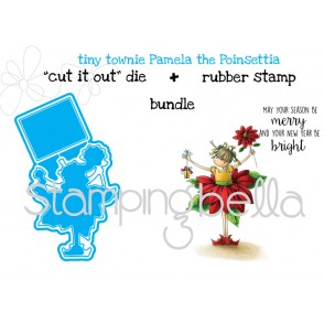 "Tiny Townie Pamela the POINSETTIA ""CUT IT OUT"" DIES + RUBBER STAMP BUNDLE (save 15%)"