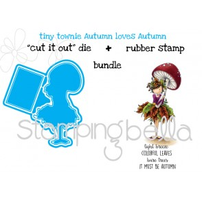 "Tiny Townie AUTUMN LOVES AUTUMN ""CUT IT OUT""  DIES + RUBBER STAMP BUNDLE (SAVE 15%)"