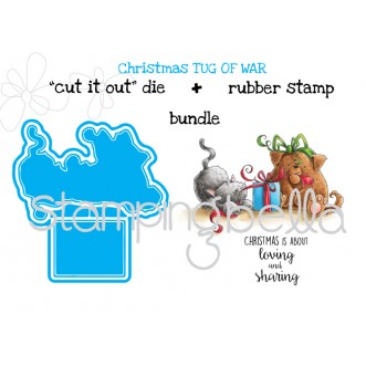 "Christmas TUG OF WAR  ""CUT IT OUT"" DIE + RUBBER STAMP BUNDLE (save 15%)"