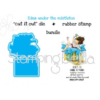 "Edna under the mistletoe ""CUT IT OUT DIE"" + RUBBER STAMP BUNDLE (save 15%)"