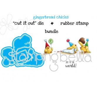 "Gingerbread CHICKS ""CUT IT OUT DIES"" + RUBBER STAMP BUNDLE (Save 15%)"