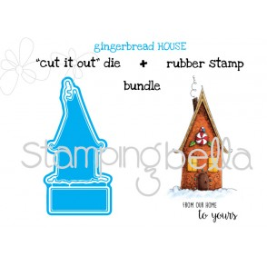 "Gingerbread House ""CUT IT OUT"" DIE + RUBBER STAMP BUNDLE (set of 2 dies)"