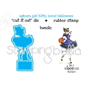 "Uptown girl KITTY LOVES HALLOWEEN ""CUT IT OUT"" DIES + RUBBER STAMP BUNDLE (save 15%)"