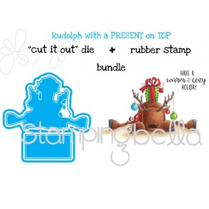 "Rudolph with a PRESENT ON TOP ""CUT IT OUT DIES"" + RUBBER STAMP BUNDLE (save 15%)"