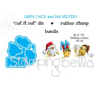 "Santa CHICK and his HELPERS ""CUT IT OUT DIE"" + RUBBER STAMP BUNDLE (save 15%)"