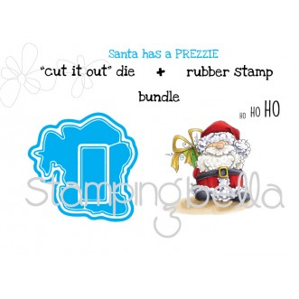 "Santa has a PREZZIE ""CUT IT OUT DIES"" + RUBBER STAMP BUNDLE (save 15%)"