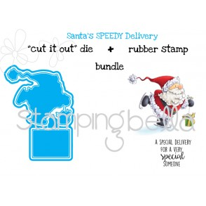 "Santa's SPEEDY DELIVERY ""CUT IT OUT"" DIES + RUBBER STAMP BUNDLE (SAVE 15%)"