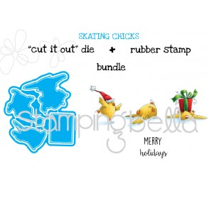 "SKATING chicks ""CUT IT OUT DIES"" + RUBBER STAMP BUNDLE (SAVE 15%)"