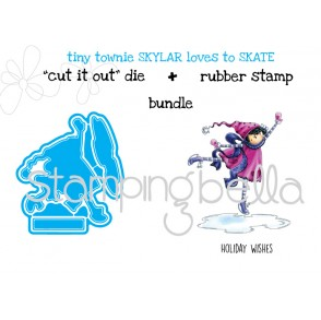 "TINY TOWNIE SKYLAR loves to SKATE ""CUT IT OUT"" DIES + RUBBER STAMP BUNDLE (save 15%)"