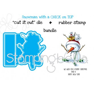 "SNOWMAN with a CHICK on TOP ""CUT IT OUT DIES"" + RUBBER STAMP BUNDLE (save 15%)"