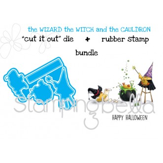 "the WIZARD the WITCH and the CAULDRON ""CUT IT OUT DIES"" + RUBBER STAMP BUNDLE (save 15%)"