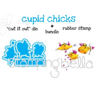 "cupid CHICKS ""CUT IT OUT"" DIES+RUBBER STAMP BUNDLE (receive 15% off when purchased together)"