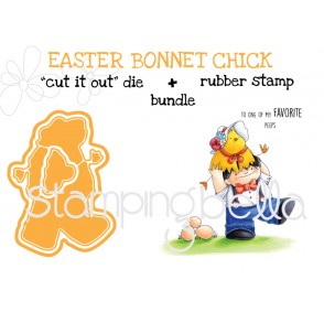 "EASTER BONNET CHICK RUBBER STAMP + ""CUT IT OUT"" BUNDLE (Save 15%)"