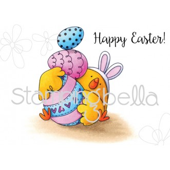 Easter BUNNY CHICK RUBBER STAMP (Set of 2)