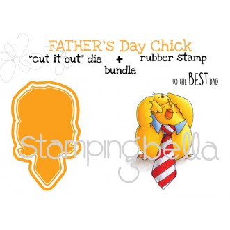 "FATHER'S DAY CHICK rubber stamp + ""cut it out"" die BUNDLE (save 15%)"