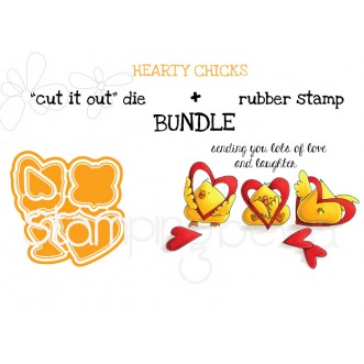 "HEARTY CHICKS rubber stamp + ""CUT IT OUT"" die bundle (SAVE15%)"