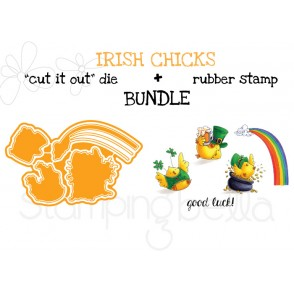"IRISH CHICKS rubber stamp + ""CUT IT OUT"" DIE BUNDLE (save 15%)"