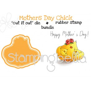 "MOTHER'S DAY CHICK rubber stamp+""cut it out"" die BUNDLE (save 15%)"