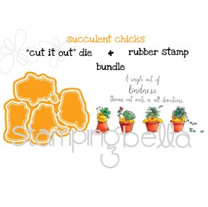 "SUCCULENT CHICKS RUBBER STAMP + ""CUT IT OUT"" DIES BUNDLE (save 15%)"