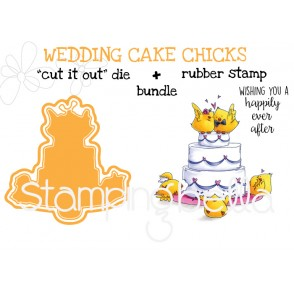 "WEDDING CAKE CHICKS rubber stamp+""cut it out"" die BUNDLE (save 15%)"