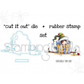"Tiny Townie ELLIE the ELF STAMP + ""CUT IT OUT"" bundle"