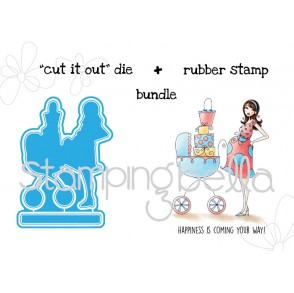 "BABYCARRIAGEABELLA  ""CUT IT OUT"" die + RUBBER STAMP BUNDLE (save 15%)"