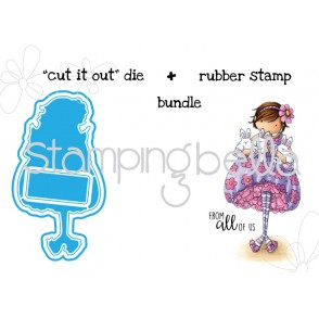 "Tiny Townie BECKY loves BUNNY WOBBLES ""CUT IT OUT"" wafer thin dies + RUBBER STAMP"