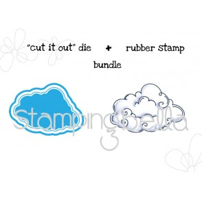 "EDNA BLOWS A KISS CLOUD BASE ""CUT IT OUT"" wafer thin die + RUBBER STAMP BUNDLE"