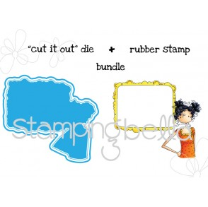 "Uptown girl CURLY CLARA needs your address ""CUT IT OUT"" wafer thin die + RUBBER STAMP BUNDLE"