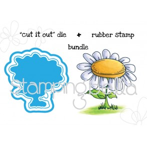"EDNA BLOWS A KISS DAISY BASE ""CUT IT OUT"" wafer thin die + RUBBER STAMP BUNDLE"