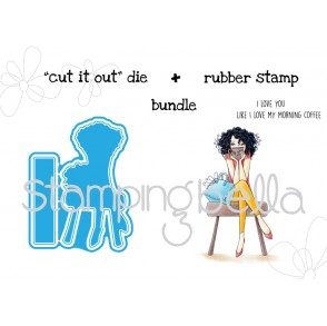 "donttalktomebeforemycoffeeABELLA V. 2.0 ""CUT IT OUT"" DIE + RUBBER STAMP BUNDLE (save 15%!)"