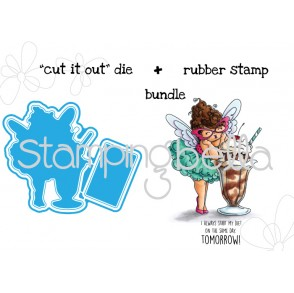 "Edna loves ICE CREAM ""CUT IT OUT"" wafer thin dies + RUBBER STAMP BUNDLE"