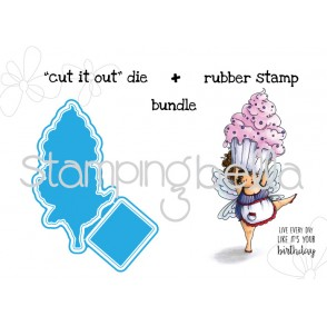 "Edna with a CUPCAKE on top ""CUT IT OUT"" + RUBBER STAMP BUNDLE"