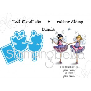"Tiny Townie FAIRY BEST FRIENDS ""CUT IT OUT"" wafer thin dies (set of 3) + RUBBER STAMP BUNDLE"