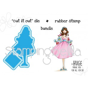 "flowersbehindmybackABELLA V. 2.0 ""CUT IT OUT"" DIE + RUBBER STAMP BUNDLE (save 15%)"