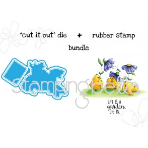 "Gardening Chicks ""CUT IT OUT"" wafer thin die + RUBBER STAMP BUNDLE"