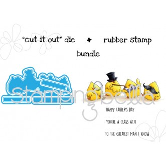 "MANLY CHICKS ""CUT IT OUT"" DIE + RUBBER STAMP BUNDLE  (save 15%!)"
