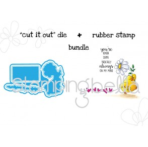 "Marching CHICK ""CUT IT OUT"" wafer thin die + RUBBER STAMP BUNDLE"