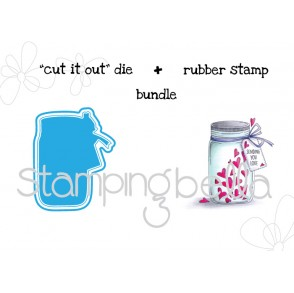 "MASON JAR OF HEARTS ""CUT IT OUT"" wafer thin die + RUBBER STAMP BUNDLE"