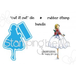 "Uptown girl MELANIE the MODERN BRIDE ""CUT IT OUT"" die and RUBBER STAMP BUNDLE"