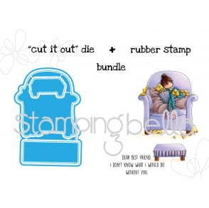 "Tiny Townie MELISSA loves MOVIES ""CUT IT OUT"" wafer thin dies (3 dies) + rubber stamp (4 stamps) BUNDLE"