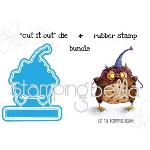 "OWLiver LOVES to CELEBRATE ""CUT IT OUT"" wafer thin dies + RUBBER STAMP BUNDLE"