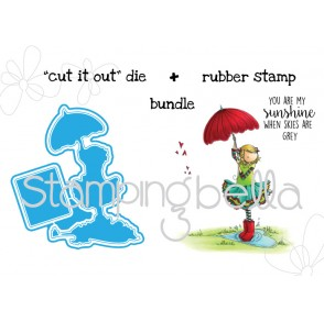 "Tiny Townie RACHEL LOVES THE RAIN ""CUT IT OUT"" DIES + RUBBER STAMP BUNDLE"
