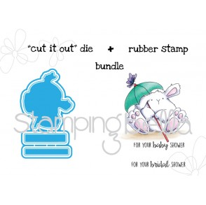 "shower bunny wobble ""CUT IT OUT DIE"" + RUBBER STAMP BUNDLE"
