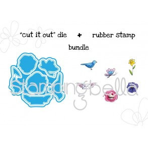 "mister POSTIE SIGNS of SPRING ""CUT IT OUT"" wafer thin dies + RUBBER STAMP BUNDLE"