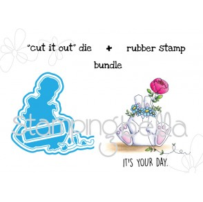 "the BUNNY WOBBLE and the PEONY ""CUT IT OUT"" wafer thin dies + RUBBER STAMP BUNDLE"
